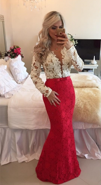 Long Sleeves Lace Mermaid Floor Length Prom Dresses with Beadings
