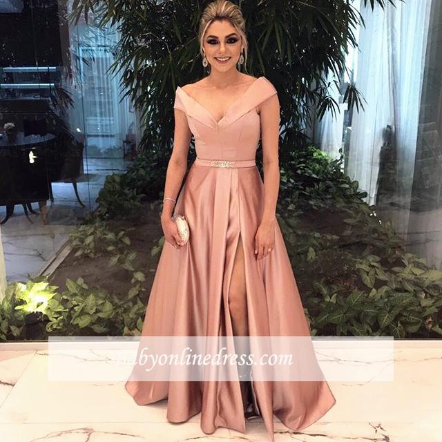 A-Line Schulterfrei Cap-Sleeve Long Sexy Evening Dresses 2018