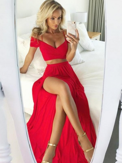 Elegant Red Two Pieces Prom Dresses | Off-The-Shoulder Slit Side A-Line Evening Dresses