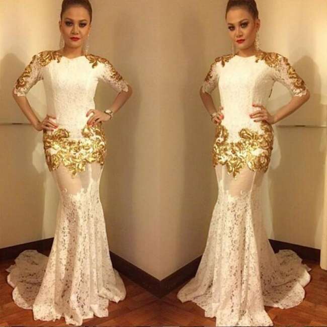 2018 Sexy Lace Mermaid Prom Dress Half-Sleeves Gold Appliques Evening Gowns