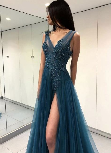 Sexy Tulle Slit Evening Gowns | Sleeveless Appliques A-line Prom Dresses