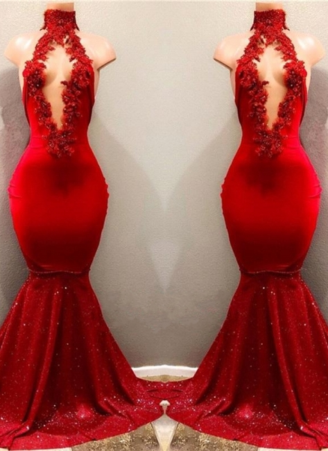 Shiny Red Mermaid Prom Dresses High Keyhole Neckline Evening Gowns
