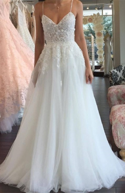 Sleeveless Lace Tulle Romantic Spaghetti-Strap A-line Wedding Dress