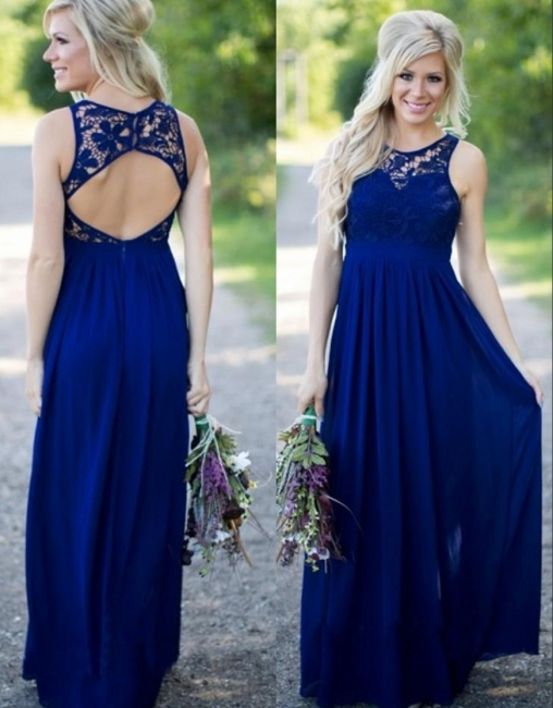 Midnight Blue Bridesmaid Dresses Lace Top Chiffon Open Back A-line Maid of the Honor Dresses