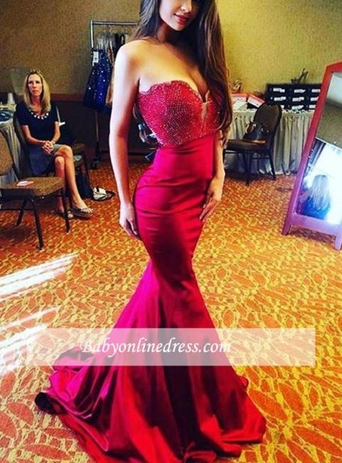 Mermaid Red Modern Beads Sleeveless Sweep-Train Sweetheart Prom Dress
