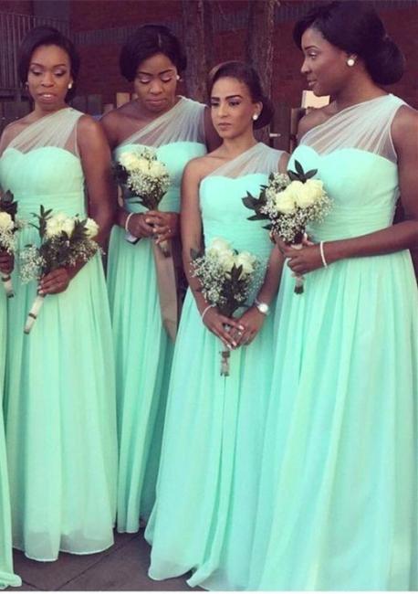 One Shoulder Bridesmaid Dresses Mint Long Chiffon Wedding Guest Dress