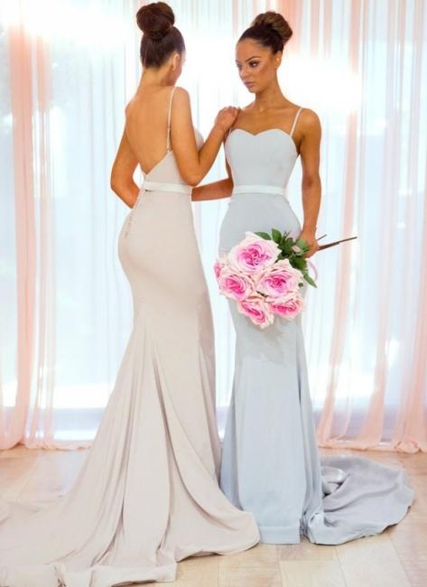 Simple Long Mermaid Bridesmaid Dresses | Spaghettis Straps Backless Wedding Party Dress