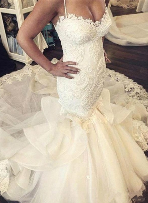 Elegant Fit and Flare Wedding Dresses Spaghettis Straps Bridal Gowns with Ruffles