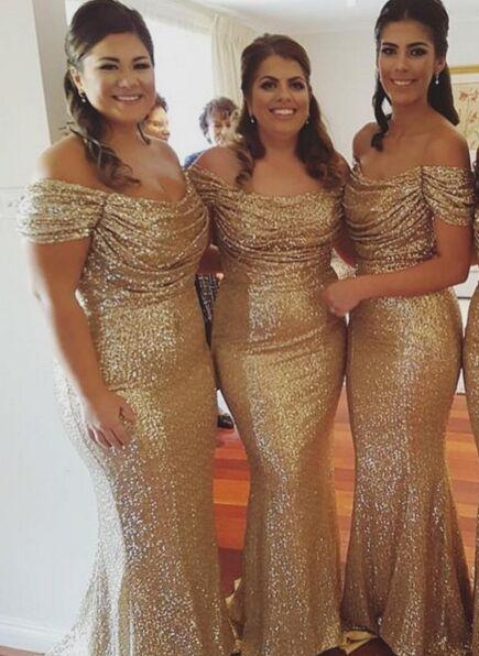 Gold Sequins Bridesmaid Dresses Off the Shoulder Sexy Mermaid Maid of the Honor Dresses
