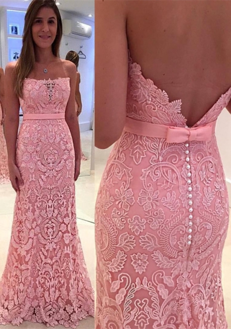 Gorgeous Pink Mermaid Lace Strapless Zipper Pearls Prom Dress
