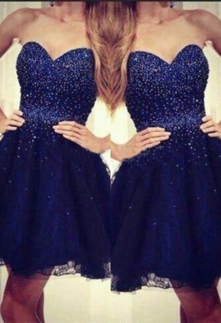 Navy Blue Sweetheart Strapless Short Sequins Tulle Homecoming Dresses with Beading