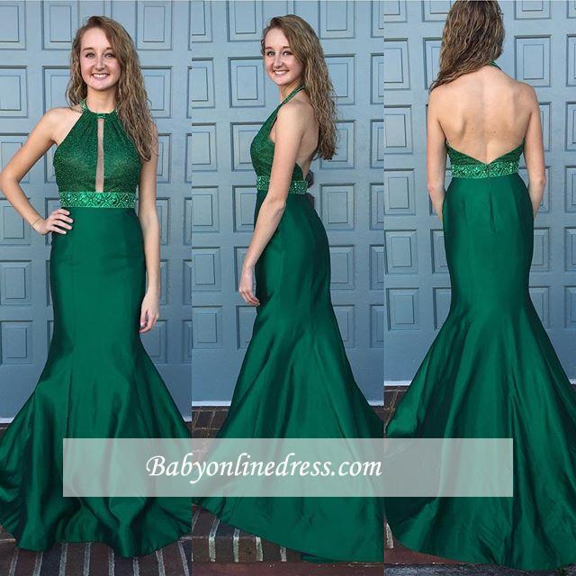 New Arrival Halter Backless Sleeveless Sweep-Train Mermaid Prom Dress with Beadings