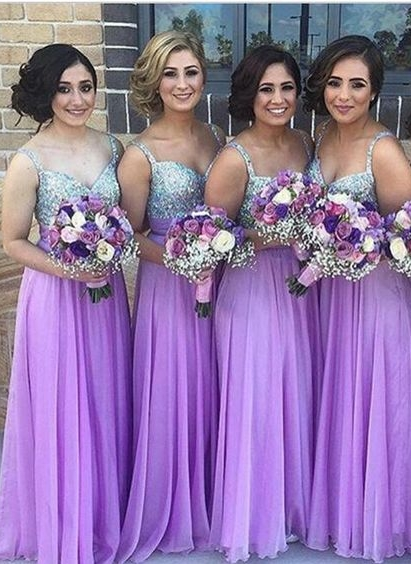 Lilac Long Bridesmaid Dresses Straps Chiffon Floor Length Maid of Honor Dresses