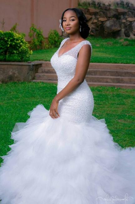 Beaded V-Neck Ruffles Mermaid Wedding Dresses with Lace-up Back