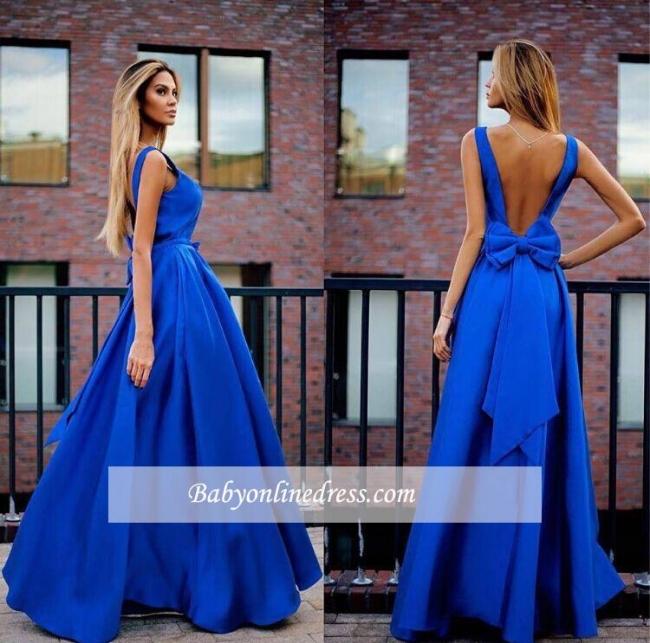 Floor-Length Bowknot Royal-Blue Elegant Open-Back Prom Dresses