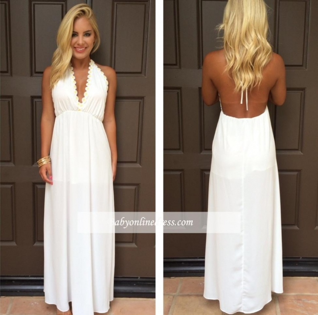 V-Neck Attractive Maxi White Halter Summer Backless Prom Dresses