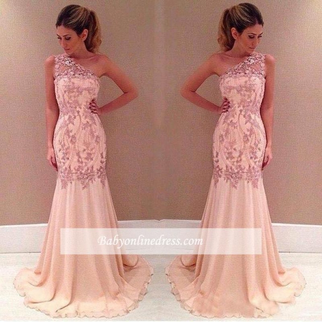 Applique Sexy Mermaid Pink One-Shoulder Long Chiffon Evening Dresses