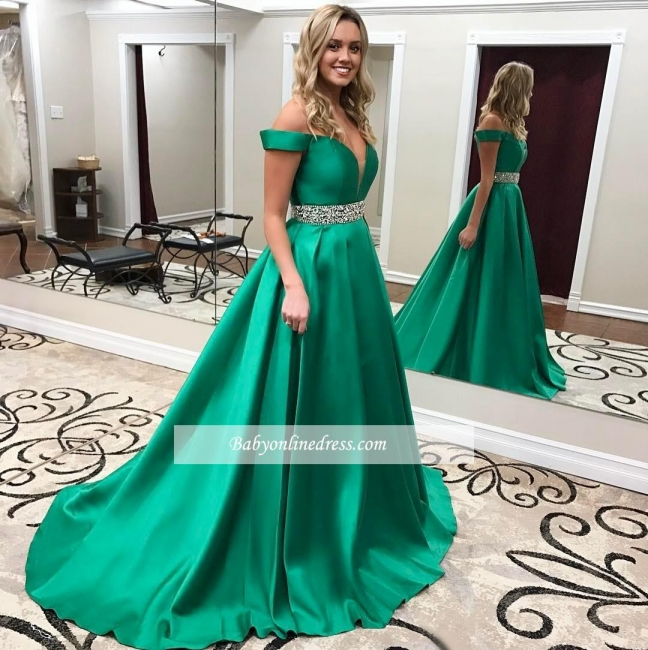 Off-the-Shoulder Gorgeous Green Crystal Prom Dress