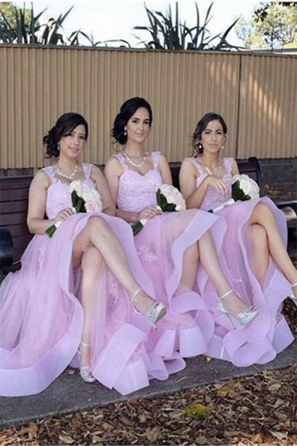 Elegant Appliques A-Line Straps Tulle Lace Bridesmaid Dresses