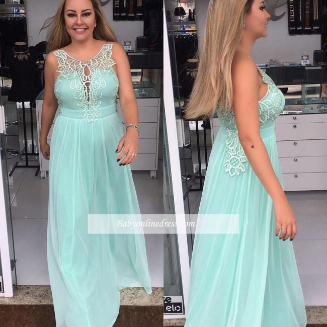 Chiffon Elegant Applique A-line Sleeveless Scoop Prom Dresses