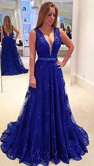 Hot Royal Blue Lace Evening Dress 2018 V-Neck Sleeveless