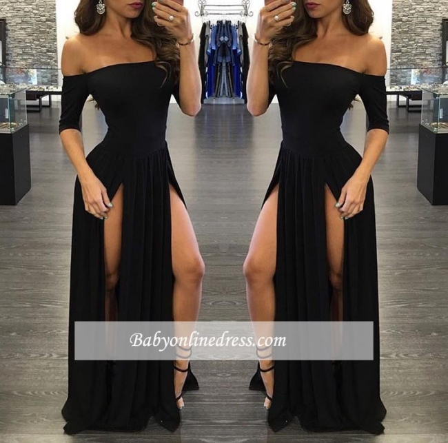 Sexy Slits Prom Dresses Half Long Sleeves Off-the-shoulder Evening Gowns