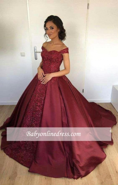 Appliques Ball-Gown Lace Burgundy Off-the-Shoulder Evening Dress