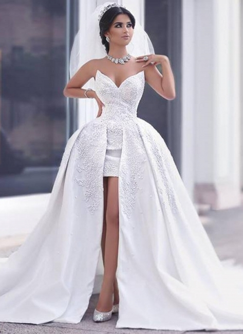 Hi-Lo Lace Appliques Short Front Puffy Amazing Wedding Dresses