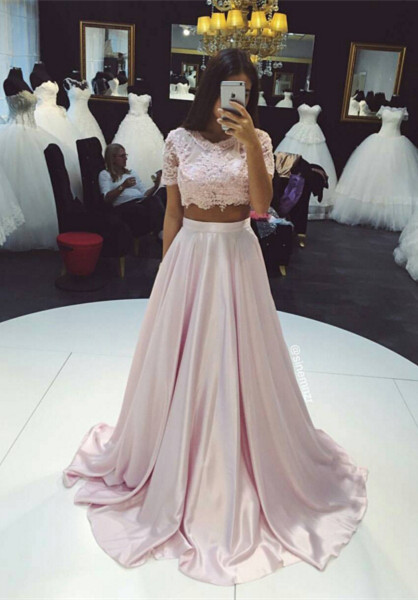 Two-Piece Prom Dresses Pink Lace Short Sleeves Elegant Long Evening Gowns