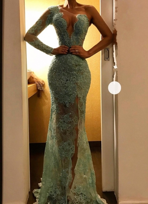 Sexy Mint Lace Evening Gowns | One Shoulder Sheer Beading Slit Prom Dresses