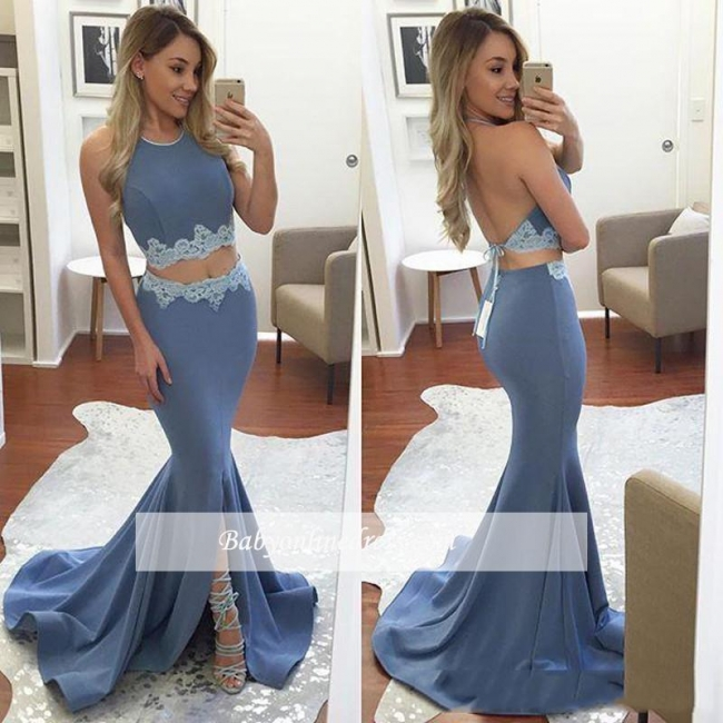 Sexy Mermaid Two-Pieces Backless Prom Dress 2018 Front-Split Halter Appliques Evening Gowns BA4779