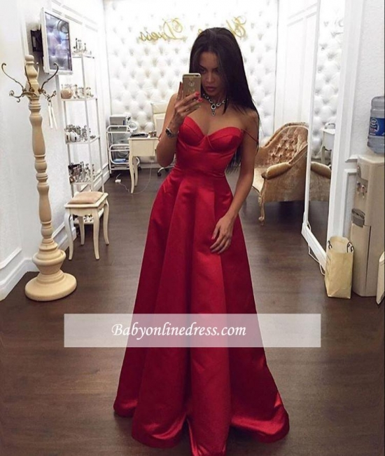 Glamorous Red Sweetheart Prom Dress A-Line Spaghetti-Straps Evening Dress