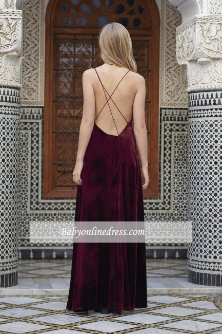 Alluring Maroon A-line Prom Dresses Spaghetti-Straps Side Slit Velvet Evening Dress