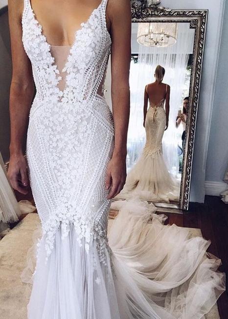 Elegant Open-Back Appliques V-Neck Mermaid Wedding Dresses