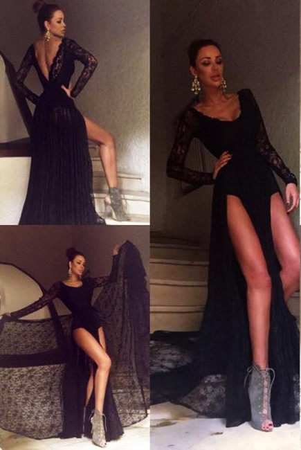 Sexy Black Prom Dress Lace Sweep-Train Long-Sleeve Evening Gowns
