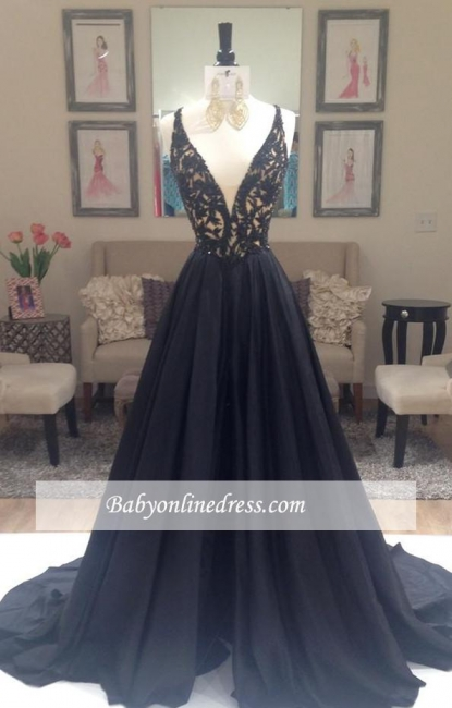 Alluring Deep V-Neck Prom Dresses Appliques Black Sleeveless Long Evening Dresses