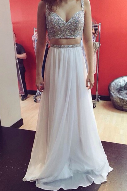 Two-Piece Prom Dresses Straps Beaded White Chiffon Formal Party Dresses
