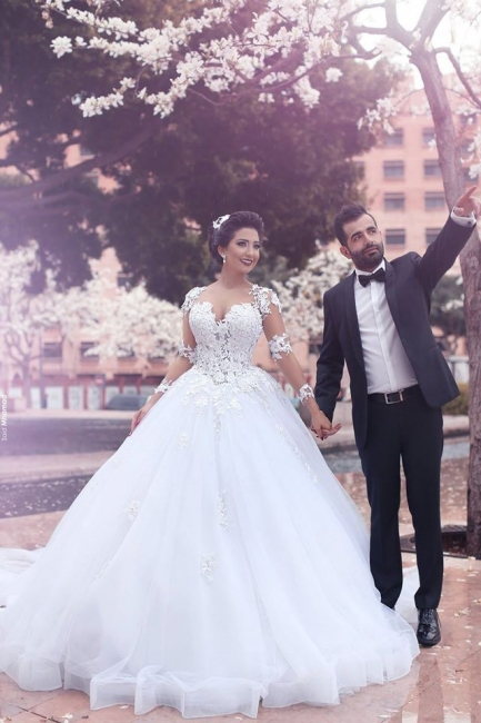Lace Appliques Arabic Ball Gown Wedding Dresses Tulle Long Sleeves Vestidos