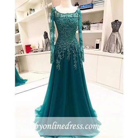Scoop Beaded Lace A-Line Blue Long-Sleeves Appliques Evening Dress