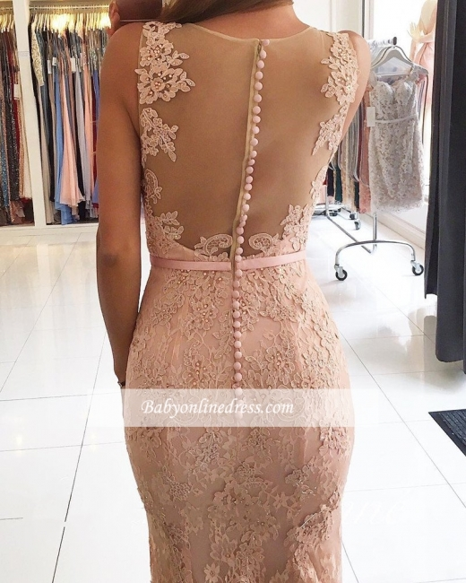 2018 Mermaid Pink Sexy Lace Long Evening Dresses