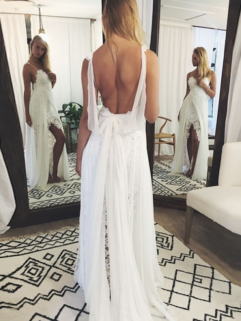 Spaghetti Straps Side-Slit A-Line Wedding Dresses | Sexy Backless Lace Bridal Gowns Floor Length