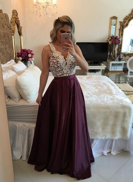 Marsala Burgundy Prom Dresses Lace with Pearls Top Shiny Skirt Evening Gowns