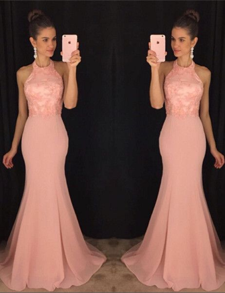 Gorgeous Mermaid Halter Prom Dresses Sleeveless Applqiues Sweep Train