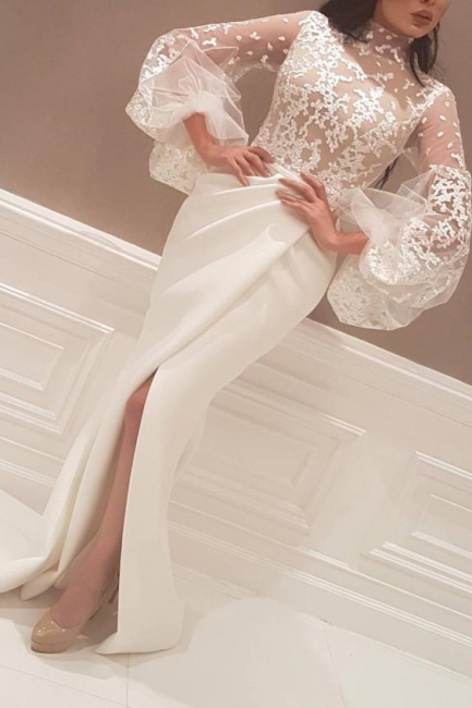 Puffy Sleeves Mermaid Prom Dresses | Front Split Appliques Evening Dresses