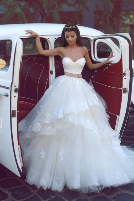 Elegant Sweetheart Tulle Appliques Wedding Dresses Ruffles Bridal ball Gowns with Sash