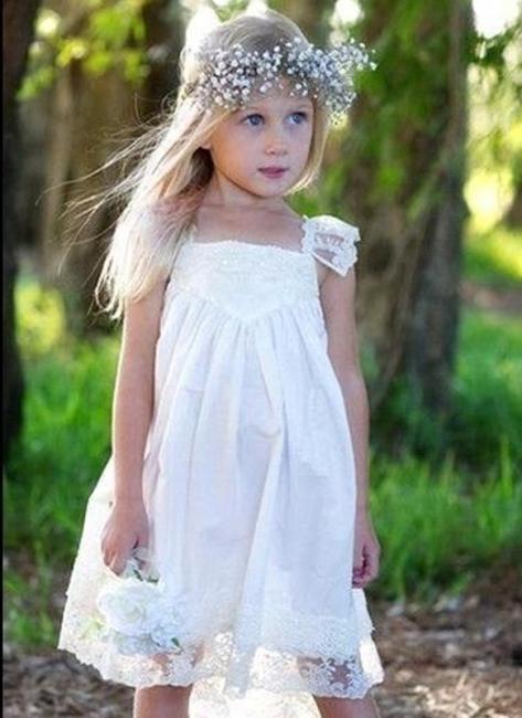 Crisscross Cute Flower Capped-Sleeves Back Girls Dresses