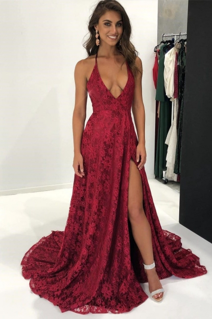 Sexy Burgundy Lace Prom Dresses | Deep V-Neck Backless Evening Gowns