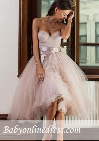 A-line Ankle-length Tulle Sweetheart Sashes Bridemaid Dress