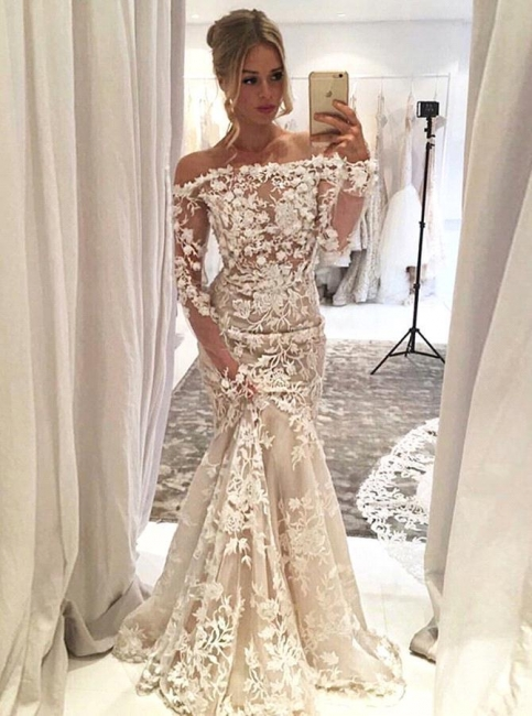 Bridal Elegant Mermaid Wedding Dresses | Lace Appliques Wedding Party Dresses
