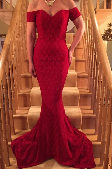 Lace Glamorous Long Red Short-Sleeve Mermaid Prom Dress